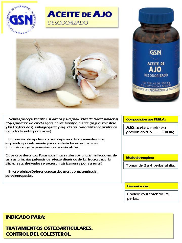 Folleto aceite de ajo desodorizado GSN
