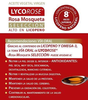 Lycorose, aceite vegetal virgen de rosa mosqueta de Dietéticos Intersa