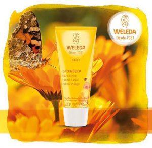 Crema de caléndula de Weleda, protege el rostro de tu bebé