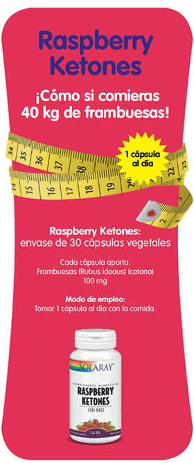 Las cetonas de frambuesa Solaray presentados en envases de 30 cápsulas favorece la pérdida de peso.