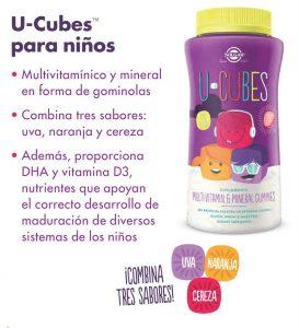 U-CUBES de Solgar gominolas masticables que aportan vitaminas y minerales a los niños