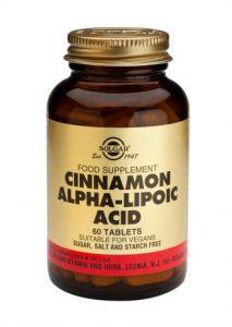 Canela china con ácido alfa lipóico de Solgar alivia la pesadez de estómago