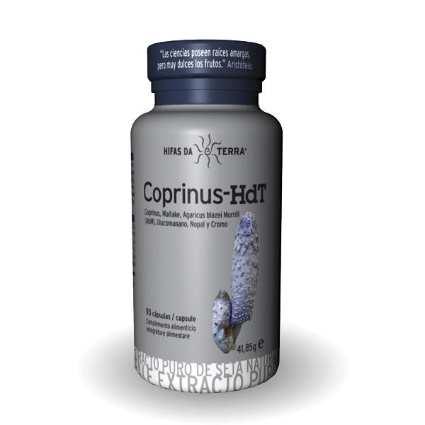 Coprinus Hifas de Terra en cápsulas del hongo Coprinus acompañado con otros componentes como el maitake, champiñón del sol, nopal y glucomanano.