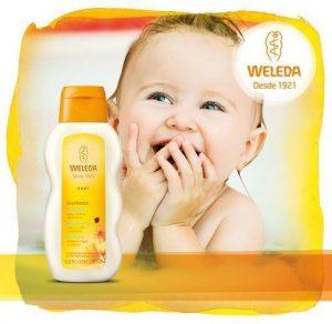 Crema de baño de bebe con caléndula de Weleda ideal para el aseo cotidiano del bebé.