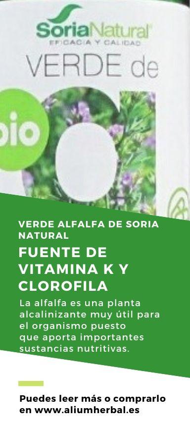 Verde de alfalfa BIO 80 cápsulas de 630 mg de Soria Natural
