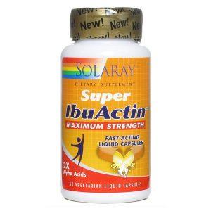 Super IbuActin de Solaray fórmula natural para elalivio del dolorcon extracto de lúpulo concentrado, bromelina, sauce blanco, papaína, jengibre y cúrcuma.