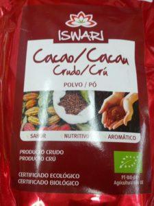 Cacao crudo en polvo Iswari aporta magnesio y antioxidantes.