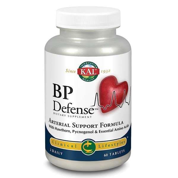 BP Defense de KAL es un complemento alimenticio formulado como un apoyo nutritivo para mejorarla salud arterial y mantener una presión sanguínea saludable
