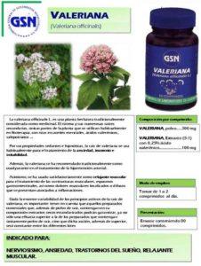 Valeriana de GSN un complemento alimenticio que relaja el sistema nervioso siendo útil en casos de ansiedad e insomnio.