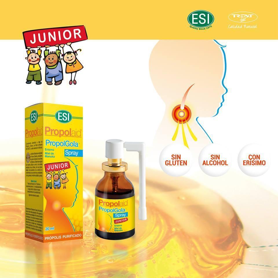 Propolaid Propolgola Spray Junior de ESI es un complemento alimenticio infantil indicado paraayudar a aliviar las molestias de la cavidad oral.